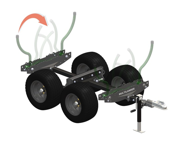 Multilander™ Logging Trailer with Utility Dump Box Stow & Go Folding Logging Arms